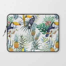 Tropical Pattern Toucans Parrots Pineapples Laptop Sleeve