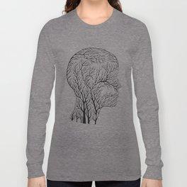 Head Profile Branches - Black Long Sleeve T-shirt
