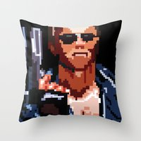 terminator Throw Pillows featuring Terminator Pixelated by Escobarr