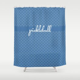 Mini Paddles and Balls on Blue Shower Curtain