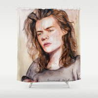 coconutwishes Shower Curtains featuring Harry watercolors III by Coconut Wishes