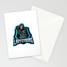 Diseno Logotipo Mascota Lady Cyborg Esport Stationery Cards