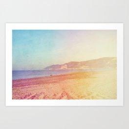 Color gradient sunny beach pastel holidays vintage happy Art Print