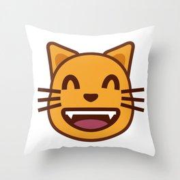 cat face emozy Throw Pillow
