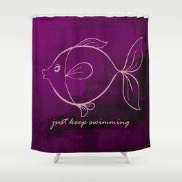 Just Keep Swimming - Purple Shower Curtain