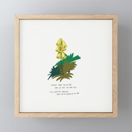 I Thought About You All Day Yellow Flowers Illustration Lyrics Framed Mini Art Print