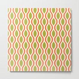 Retro Ogee Pattern 442 Orange Beige and Olive Metal Print