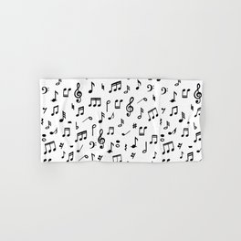 Music notes in black and white Hand & Bath Towel