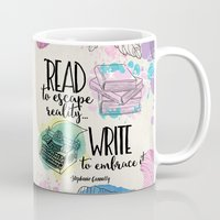 write Mugs featuring Write to Embrace design by Evie Seo