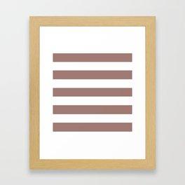 Burnished brown - solid color - white stripes pattern Framed Art Print