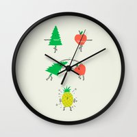 dbz Wall Clocks featuring Pineapple by I Love Doodle