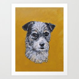 Terrier Mix Dog Portrait Art Print