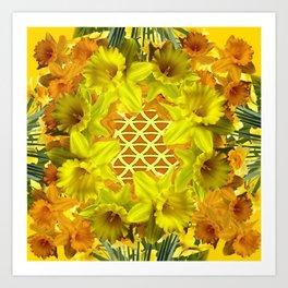 GOLDEN YELLOW SPRING DAFFODILS PATTERN GARDEN Art Print