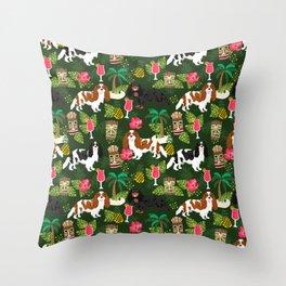 Cavalier King Charles Spaniel tiki hawaiian island tropical dog breed pattern dogs Throw Pillow