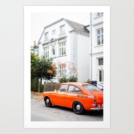 Car and orange Art Print
