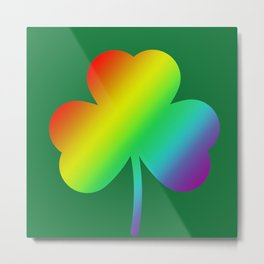 Rainbow Shamrock St Patricks Day Gift Metal Print