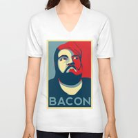 bacon V-neck T-shirts featuring BACON by MezmoreyezGaming