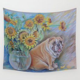 Bull Gogh van Dog Sunflowers & Bulldog Pastel drawing Funny pastiche of van Gogh's painting Wall Tapestry