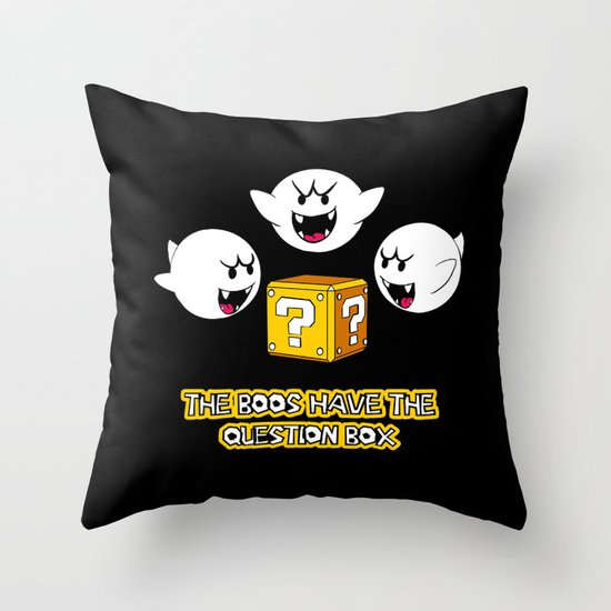 The boos have the question box Throw Pillow