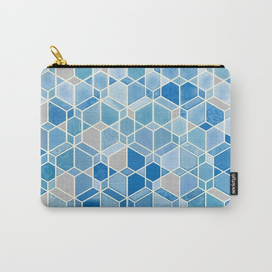 Cubes & Diamonds in Blue & Grey  Carry-All Pouch