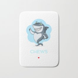 I Chews You Cute Shark Pun Bath Mat