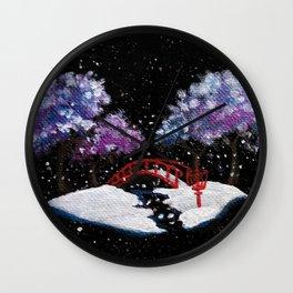 Snowy Garden Discing Wall Clock