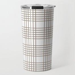 Brown Abstract Check Pattern Travel Mug