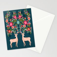 Deer with Flowers by Andrea Lauren  Stationery Cards