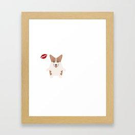 I Kissed A Corgi And I Liked It Cute Dog Kiss Gift Idea Framed Art Print