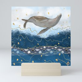 Flying Seal - Rising Waters Surreal Climate Change  Mini Art Print