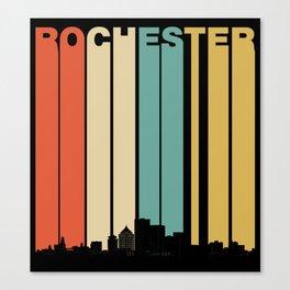 Vintage 1970's Style Rochester New York Skyline Canvas Print