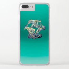 Faux Real - Teal - This is Not Typography Clear iPhone Case