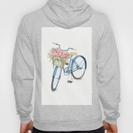 Blue Bicycle with Flowers in Basket Hoody