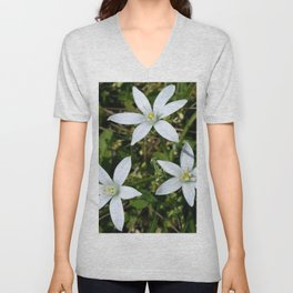 White Flowers Unisex V-Neck