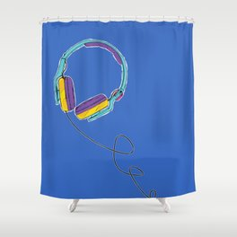 Pop Music Colourful Headphones Shower Curtain