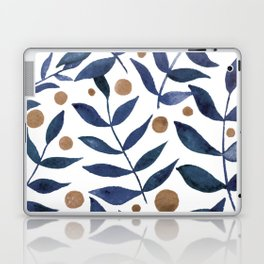 Watercolor berries and branches - indigo and beige Laptop & iPad Skin