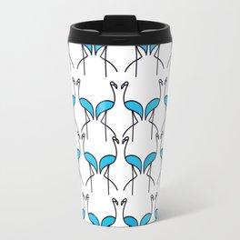 Coastal Pattern Blue Flamingos Travel Mug