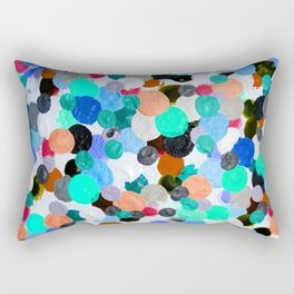 Aqua Rainbow Paint Drops Rectangular Pillow