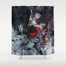 Red and Black Minimalist Abstract Painting Shower Curtain