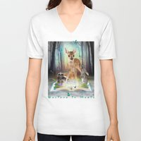 roald dahl V-neck T-shirts featuring Believe In Magic • (Bambi Forest Friends Come to Life) by soaring anchor designs