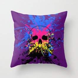 Skull splatter Throw Pillow