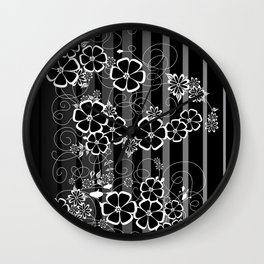 Abstract white and black flowers with background Wall Clock