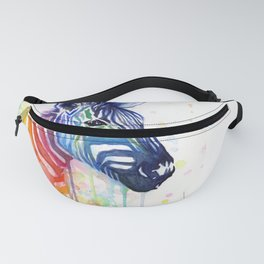 Zebra Rainbow Watercolor Whimsical Animal Fanny Pack