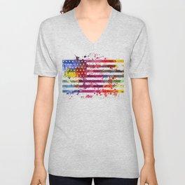 Splash US Flag Unisex V-Neck