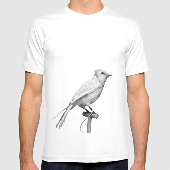 Albino Blue Jay - Square Format Natural History Bird Portrait T-shirt