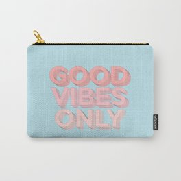 Good Vibes Only sky blue peach pink typography inspirational motivational home wall bedroom decor Carry-All Pouch