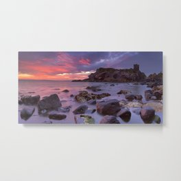 Spectacular sunrise at Kinbane Castle in Northern Ireland Metal Print