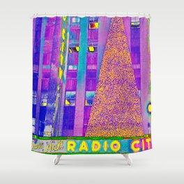 Radio City Music Hall with Holiday Tree, New York City, New York Shower Curtain