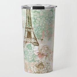 I love Paris - Vintage Shabby Chic - Eiffeltower France Flowers Floral Travel Mug