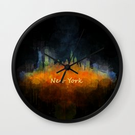 New York City Skyline Hq V04 Wall Clock